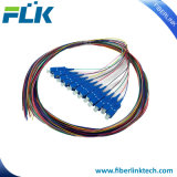 12 Colors Multi-Cores Fiber Optic Fanout Pigtails Singlemode Multimode Sc/LC/FC/St/MTRJ/E2000 Upc/APC 0.9/2.0/3.0m 12fibers