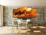 Wall Canvas Art Painting Poster Frame for Room Home Decor 5 Panel Pictures Sunset Animal Horses Modern HD Printed Photo