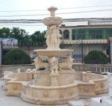 Classic Garden Stone Marble Granite Water Fountain with Carved Lady Lion Statue (SY-F356)