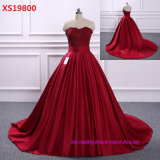 Princess Red Formal Ball Gowns Bodice Sweetheart Floor Length Backless Bride Dress