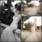 Backless Bridal Dress Mermaid Lace Tulle Wedding Gowns X186