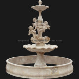 Stone Carving Angel Water Pool Fountain (FNT112)