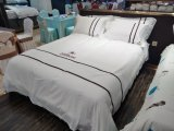 Hotel Linen White Satin Stripe 100% Cotton Hotel Bedding Set Hotel Bed Linen