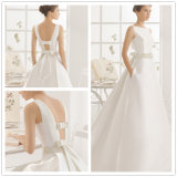 2017 Hotsale Simple Jewel Neckline Satin Wedding Gown (Dream-100012)