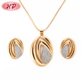 Fashion 18K Gold Plated CZ Crystal Chain Jewelry Sets