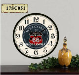 Vintage Decoration Antique Classic Route 66 Design MDF Wooden Print Paper Decal Wall Clock