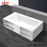 Bathroom Corian Free Standing Artificial Stone Shower Bath with Shelf Function