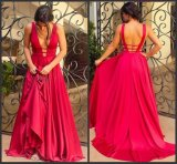 Satin Party Prom Gowns A-Line Backless Sexy Evening Dresses Z5011