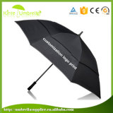 Pure Color Logo Custom Double Layer with Net Gauze Windproof Automatic Open Golf Umbrella