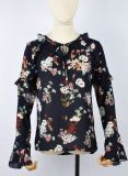 Fashion Breathable Chiffon Blouses for Women Deep V Neck Floral Printed Flare Sleeve Blouse