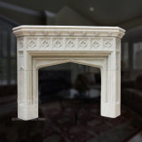 Overmantel White Sandstone Marble Fireplace with Good Hand-Carved Quality, Competitive Price