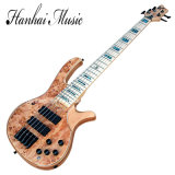 Hanhai Music / Brown Electric Bass Guitar with 5 Strings
