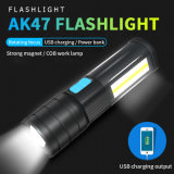 Factory Wholesale New USB Charging COB Multifunction Glare Super Bright Ak47 LED Flashlight