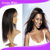 Natural Black Straight Full Lace Wig with Silk Top Base