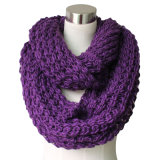 Lady Acrylic Knitted Purple Chunky Infinity Fashion Scarf (YKY4376-2)