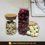 430ml Clear Borosilicate Glass Jar with Wooden Lid