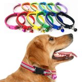 Wholesale Colorful 1.0cm 1.5cm Custom Reflective Light Reflecting Glistening Shiny Pet Dog Collar Pet Leash Harness Belt for Cats and Small Dogs with Bell