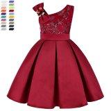 Custom Design High Quality Lace Sleeveless Princess Dress Elegant Kids Evening Dress