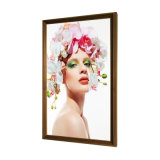 2020 Yc-320ah 32 Inch Light Adjustable LCD Display Wholesale Price Wood Frame Digital Photo Frame for Art Galleries Wall