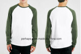 Contrast Color Reglan Sleeve Slub Cotton Mens Shirt