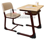 Single Seat Attached Wooden School Student Desks and Chair