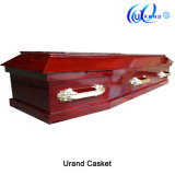 Simple Flat Lid Coffin with Plastic handles Wooden Coffin