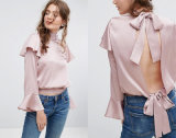 Ladies Round Collar Blouse with Backless Horn Sleeve Blouse