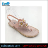 Sweet Strap Nice Cheap Flower Decor Jelly Flip Flops Slippers for Womens Ladies