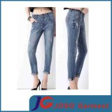 Waisted Jeans Boyfriend Slim Fit Jeans for Woman (JC1359)