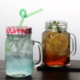 Cock Shape 450ml Lead Free Glass Mason Jar Cup with Tinplate Lid for Party Use