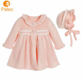 Popular Knit New Design Clothes Kids Baby Girls Sweater Dress with Bonnet