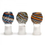 Round Glass Female Dome Clear with Colorful Swirls and Waves Oil Rigs Domes Smoking Accessories