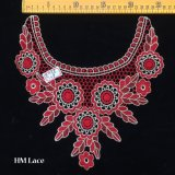 27*27cm Eyelet Red Banquet Dress Lace Collar with Big Flower and Branch Pattern Hme958