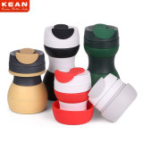500ml Reusable Leakproof Collapsible Silicone Travel Mug with Customized Logo