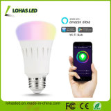New Products LED Design Lighting Smartphone/Bluetooth Controlled Multicolored RGB LED Light Ce UL E27/B22 9W WiFi Smart LED Bulb