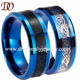 Dragon and Carbon Fiber Inlay Tungsten Ring