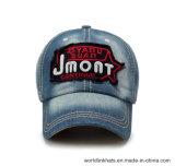 Wholesale Distressed Applique Embroidery Denim Fabric Baseball Caps and Hats