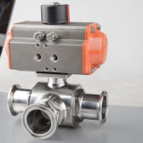 Stainless Steel Pneumatic L Ball Type 3 Way Ball Valve