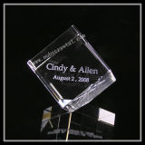2 Inch Crystal Cube Engraved with Wedding Text (ND-1022)