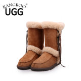 Elegant MID Calf Winter Sheepskin Snow Boots for Ladies in Chestnut