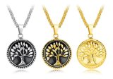 Fashion Silver/Black/Gold Wishing Tree Pendant Necklace Tree of Life Necklaces for Boy Men Jewelry Gifts