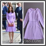 Women Fashion Clothes Purple Long Sleeve Party A-Line Dress