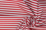 Red/White Stripes 60 Cotton 40 Polyester Twill Yarn Dyed Fabric