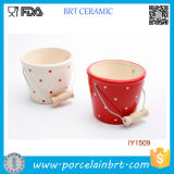 Ceramic Lovely Round Storage Bucket with a Handle