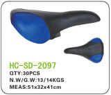 Blue and Black Leather MTB Saddle (SD-2097)
