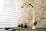 Contemporary Brass Single Handle Kithcen Faucet with Gold Finish