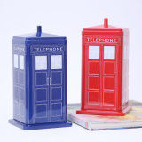 Metal Box Telephone Booth Shape Biscuit Candy Tin Box