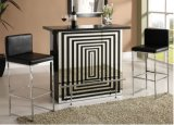 Modern Black White Frosted Glass Top Steel Bar Pub Table Unit
