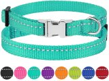 Reflective Dog Collar with Buckle Lightweight Safety Nylon Material