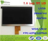 """7.0"""" 1024X600 Lvds 40pin High Brightness: 300 TFT LCD Touch Screen"""
